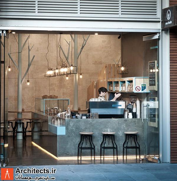 طراحی داخلی کافی شاپ با رنگ های خام و ساده
