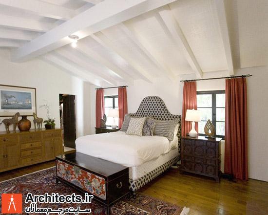طراحی دکوراسیون داخلی اتاق خواب مستر با فرش ایرانی
