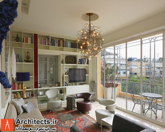 طراحی دکوراسیون داخلی اتاق نشیمن با فرش ایرانی و سبک مدرن