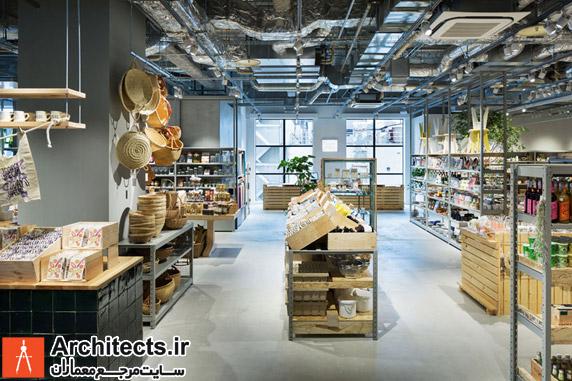 طراحی داخلی فروشگاه بزرگ چند منظوره ارگانیک در کیوتو